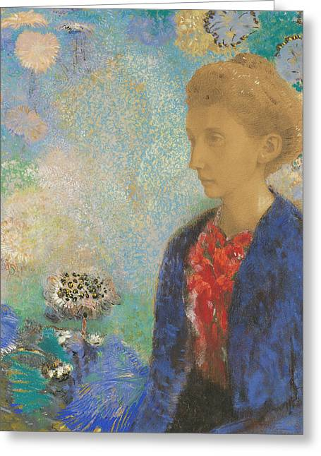 20th Pastels Greeting Cards - Baronne de Domecy  Greeting Card by Odilon Redon