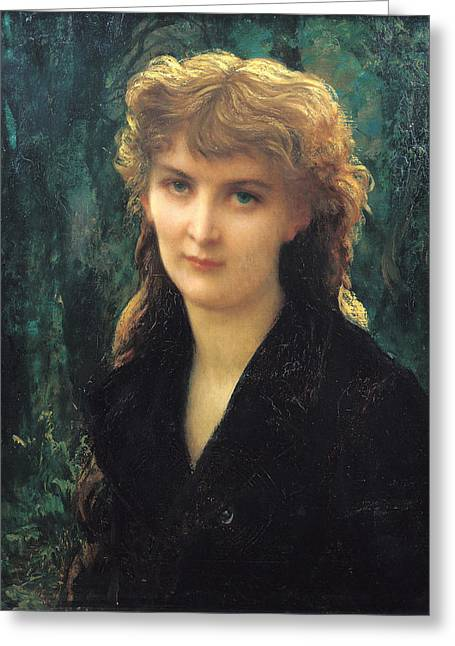 1884 (oil On Canvas) Greeting Cards - Baronness Eleonore dUckermann Greeting Card by Antoine Auguste Ernest Hebert