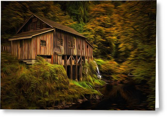 Cedar Creek Greeting Cards - Baroque Cedar Grist Mill Greeting Card by Mark Kiver