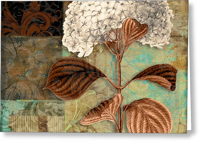 Hydrangea Greeting Cards - Baroque Hydrangea Patchwork Greeting Card by Mindy Sommers