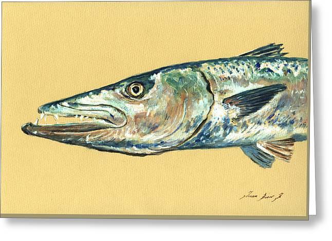 Barracuda Fish Greeting Card by Juan  Bosco