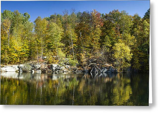 Reflection In Water Greeting Cards - Barre Vermont Autumn Granite Quarry Greeting Card by Andy Gimino