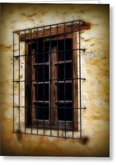Window Bars Greeting Cards - Barred window Greeting Card by Perry Webster