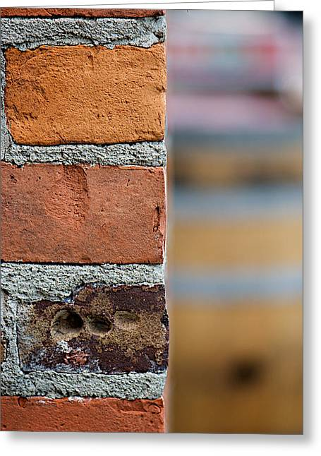 Rusted Barrels Greeting Cards - Barrel Behind Bricks Greeting Card by Lisa Knechtel