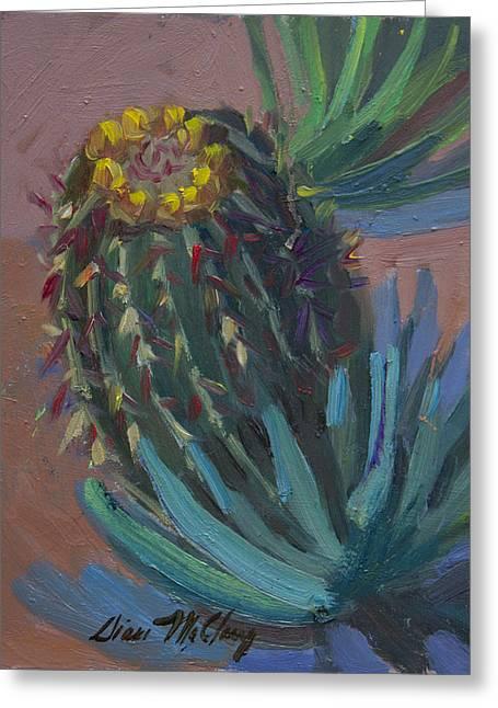 Barrel Cactus In Bloom - Boyce Thompson Arboretum Greeting Card by Diane McClary