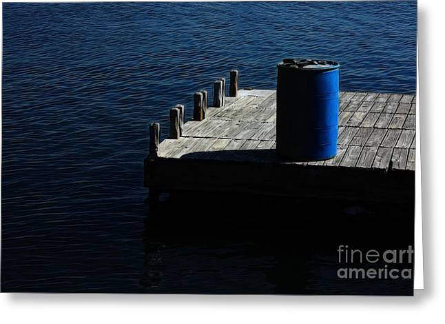 Ocean Sailing Greeting Cards - Barrel on an Empty Dock Greeting Card by Nishanth Gopinathan