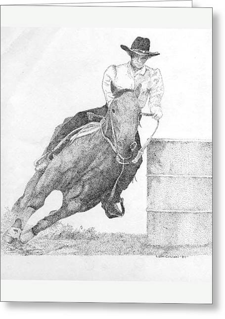 Barrel Racer Greeting Card by Lucien Van Oosten