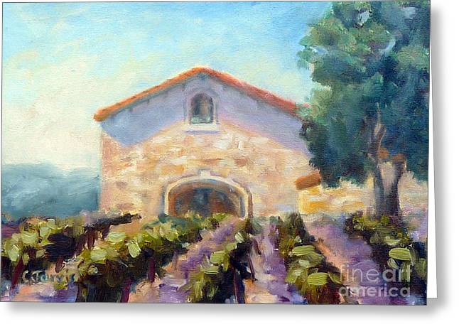 Sonoma County Paintings Greeting Cards - Barrel Room Greeting Card by Carolyn Jarvis