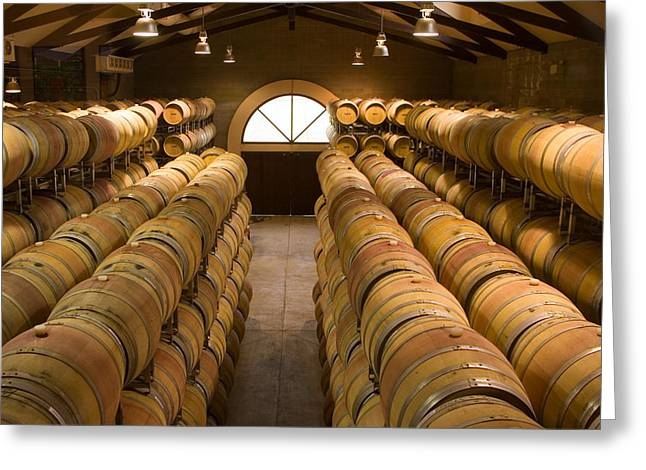 Winery Photography Greeting Cards - Barrel Room Greeting Card by Eggers   Photography