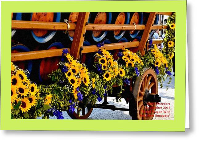 Barrel Pastels Greeting Cards - Barrel Wagon With Sunflower Bouquets H A Greeting Card by Gert J Rheeders
