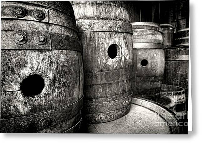 Barrels Of Laugh Past  Greeting Card by Olivier Le Queinec