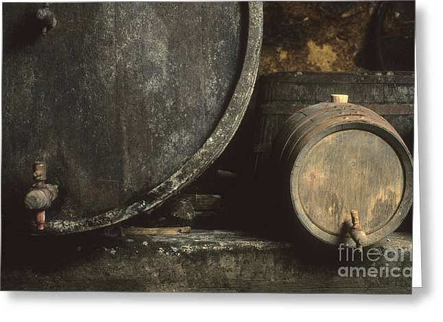 Viticulture Greeting Cards - Barrels of wine in a wine cellar. France Greeting Card by Bernard Jaubert