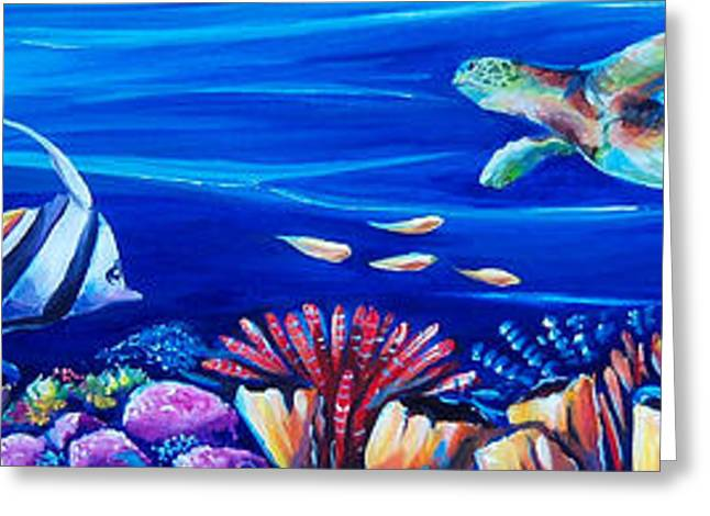 Ocean Turtle Paintings Greeting Cards - Barrier Reef Greeting Card by Deb Broughton