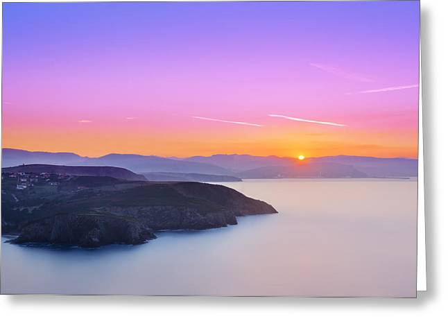 Pais Vasco Greeting Cards - Barrika Cliffs At Sunset Greeting Card by Mikel Martinez de Osaba