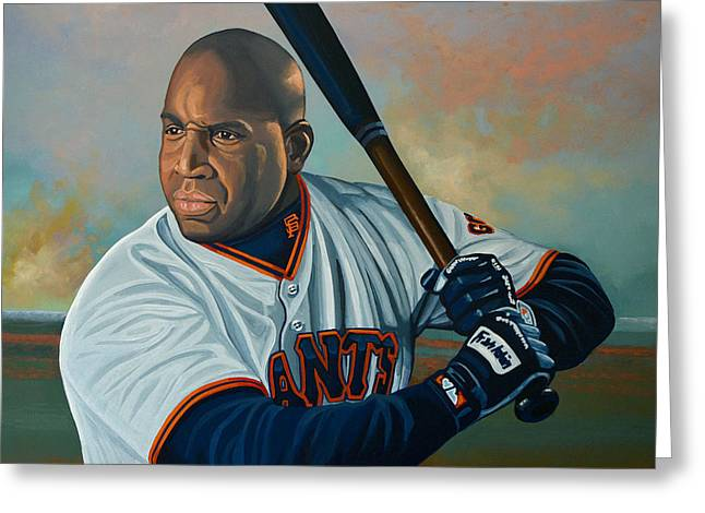 Glove Greeting Cards - Barry Bonds Greeting Card by Paul Meijering