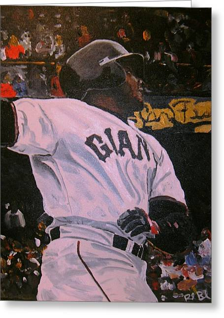 Baseball Paintings Greeting Cards - Barry Bonds World Record Breaking Home run Greeting Card by Ruben Barbosa