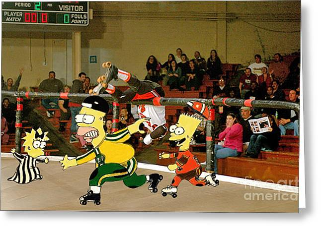 Bart Vs Homer Simpson At The Roller Derby Greeting Card by Jim Fitzpatrick