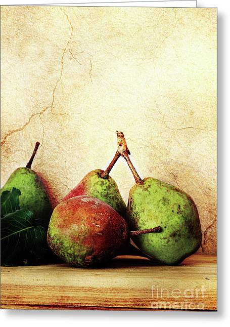 One Pear Greeting Cards - Bartlett Pears Greeting Card by Stephanie Frey