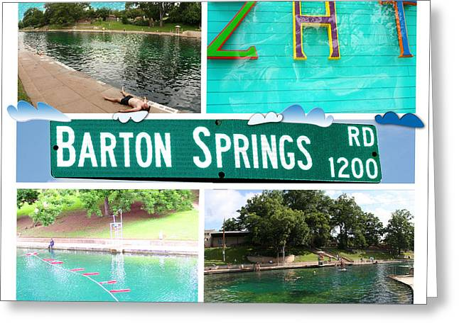 Photomontage Greeting Cards - Barton Springs Greeting Card by Andrew Nourse