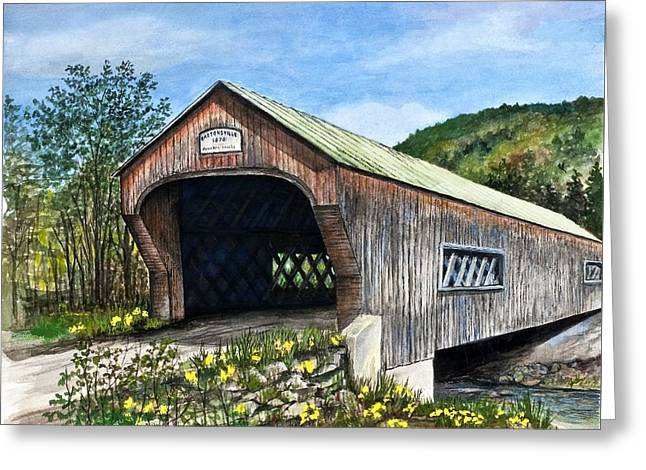 Mountain Road Greeting Cards - Bartonsville Covered Bridge Greeting Card by Lucille  Major