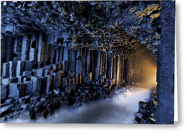 Cavern Greeting Cards - Basalt Pillars Line Fingals Cave Greeting Card by Jim Richardson