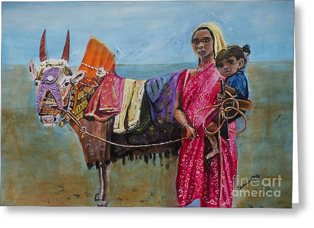 Sacred Bull Greeting Cards - Basava Bull Greeting Card by Samanvitha Rao
