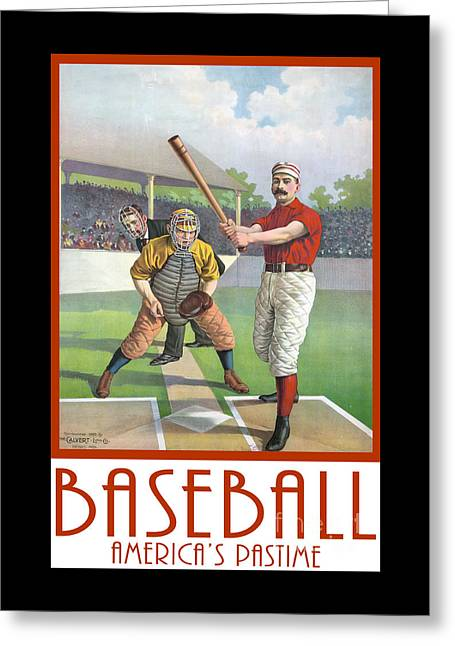 Baseball America Pastime Tee Greeting Card by Edward Fielding