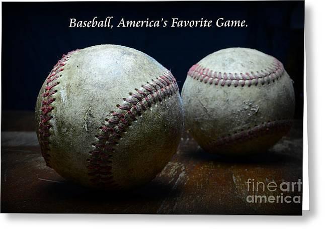 Worn Baseball Greeting Cards - Baseball Americas Favorite Game Greeting Card by Paul Ward