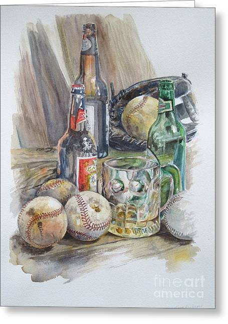 Baseball Gloves Paintings Greeting Cards - Baseball and Beer Greeting Card by Karen Boudreaux
