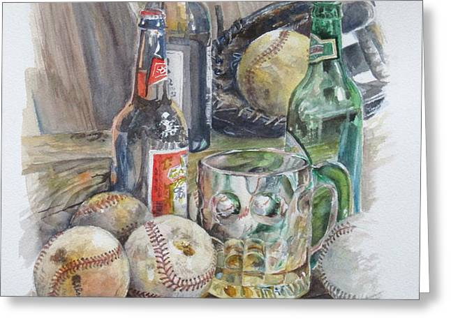 Baseball and Beer Greeting Card by Karen Boudreaux