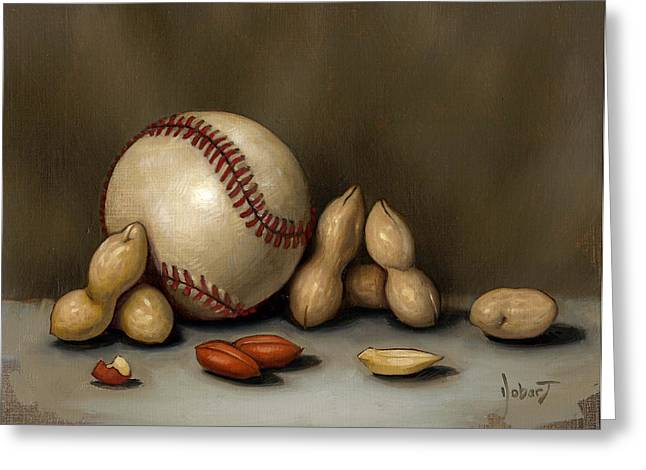 Baseball Paintings Greeting Cards - Baseball And Penuts Greeting Card by Clinton Hobart