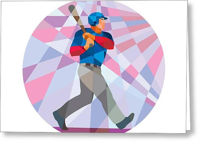 Abstract Baseball Greeting Cards - Baseball Batter Hitter Batting Low Polygon Greeting Card by Aloysius Patrimonio