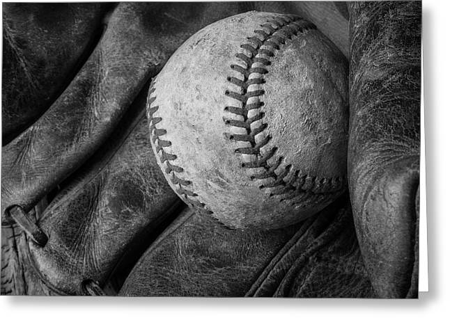Baseball Black And White Greeting Card by Garry Gay