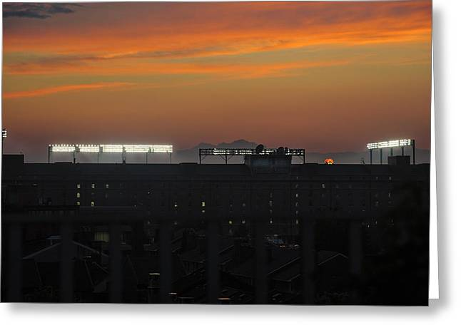 Baseball Game Greeting Cards - Baseball Camden Yards Sunset Greeting Card by Marianne Campolongo