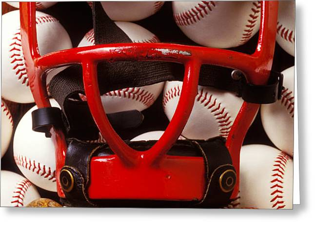 Baseball catchers mask and balls Greeting Card by Garry Gay