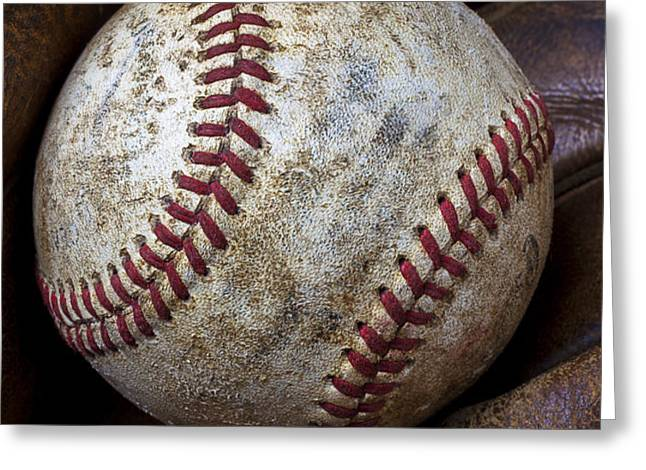 Baseball Close Up Greeting Card by Garry Gay