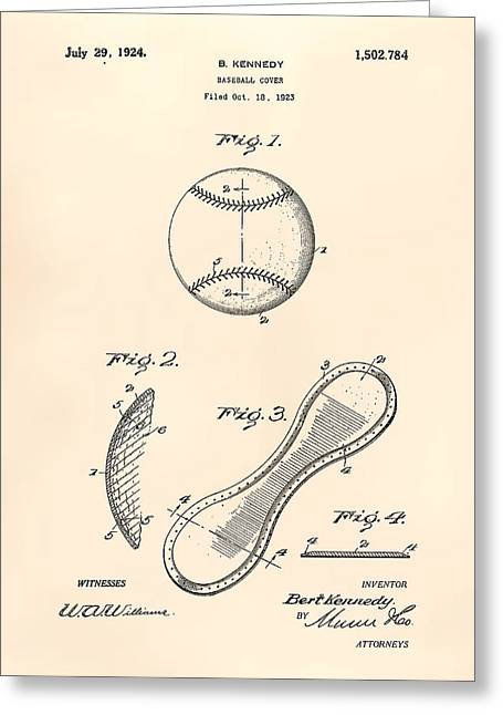 Baseball Art Greeting Cards - Baseball Cover 1924 Patent Art - Old Peper Greeting Card by Ray Tawer