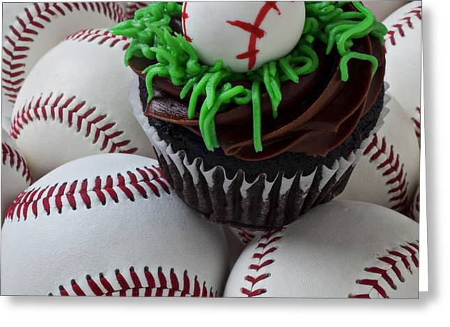 Baseball cupcake Greeting Card by Garry Gay