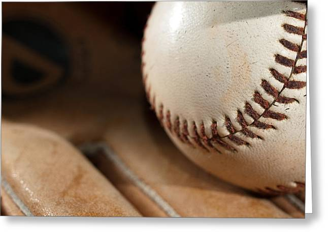 Baseball Gloves Photographs Greeting Cards - Baseball Greeting Card by Felix M Cobos