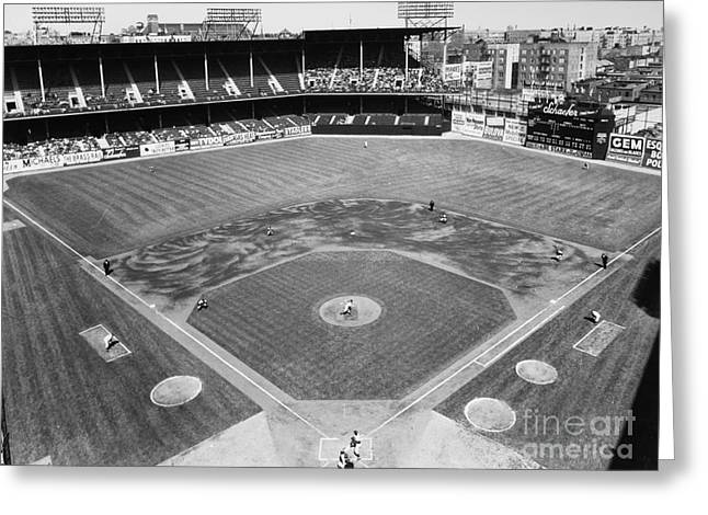 Ebbets Field Greeting Cards - BASEBALL GAME, c1953 Greeting Card by Granger