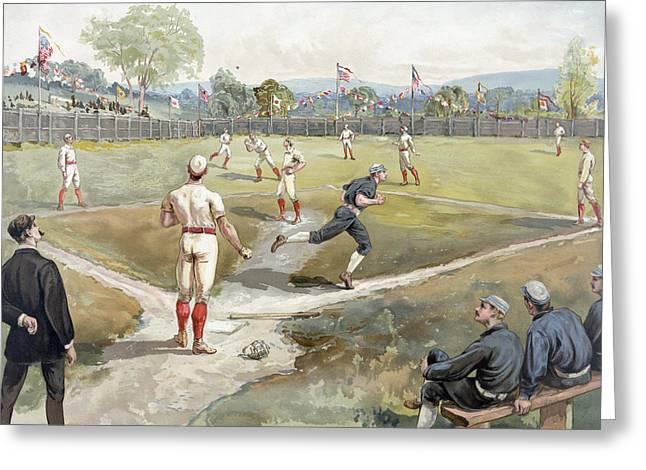 Cave Drawings Greeting Cards - Baseball Game Greeting Card by Unknown
