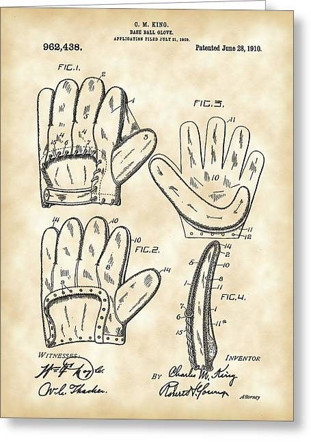 Slider Greeting Cards - Baseball Glove Patent 1909 - Vintage Greeting Card by Stephen Younts