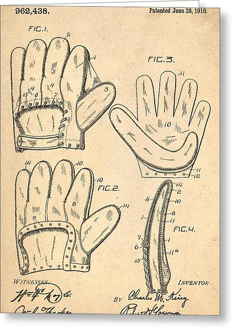 Baseball Glove Greeting Cards - Baseball Glove Patent 1910 Greeting Card by Digital Reproductions
