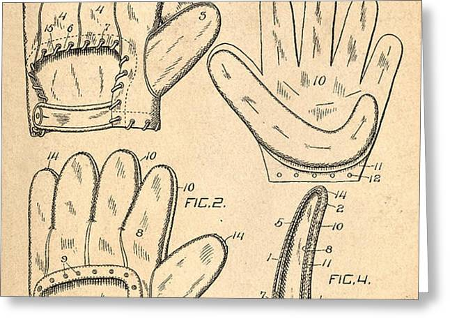 Baseball Glove Patent 1910 Greeting Card by Digital Reproductions