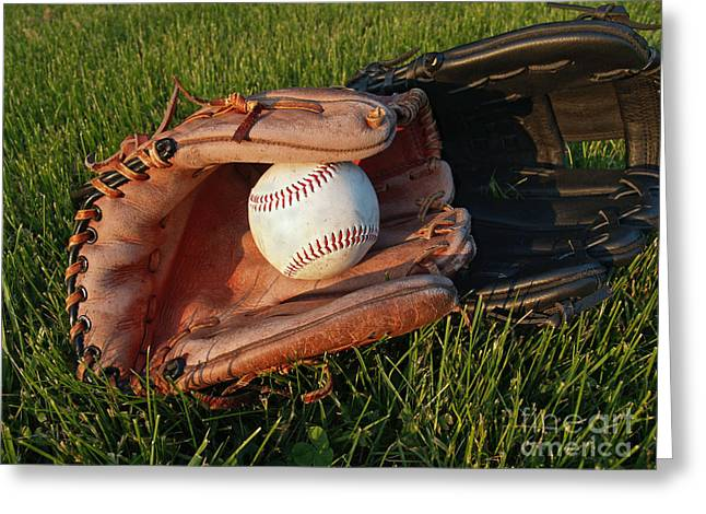 Baseball Gloves Photographs Greeting Cards - Baseball Gloves After the Game Greeting Card by Anna Lisa Yoder