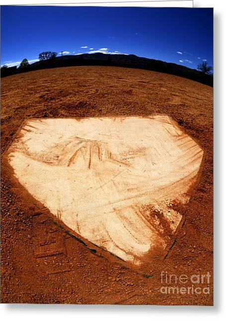 Baseball Home Plate Dark Dirt Greeting Card by Lane Erickson