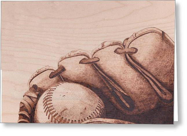 Glove Pyrography Greeting Cards - Baseball in Mitt Greeting Card by Marsha Wilson