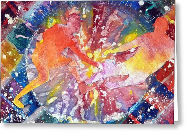 Baseball Paintings Greeting Cards - Baseball Kaleidoscope Greeting Card by Carole Overall