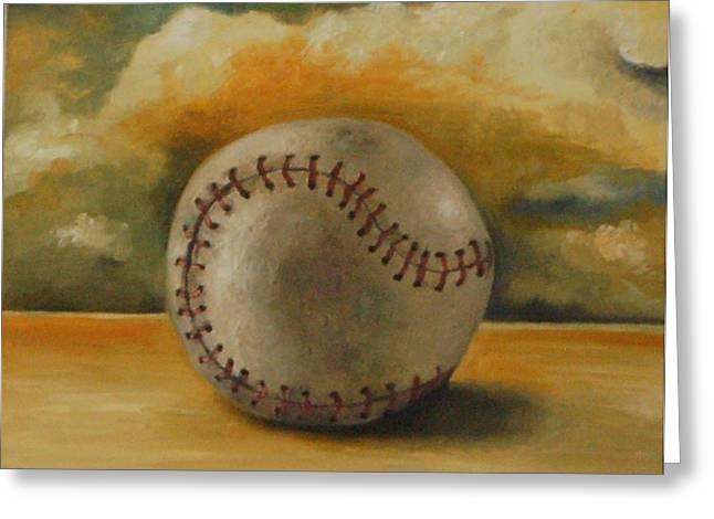 Baseball Paintings Greeting Cards - Baseball Greeting Card by Leah Saulnier The Painting Maniac