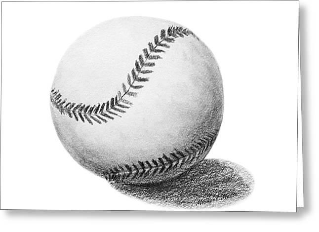 Baseball Game Drawings Greeting Cards - Baseball Greeting Card by Michael Malta